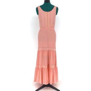 Wrangler Sleeveless Tiered Western Maxi Dress, S